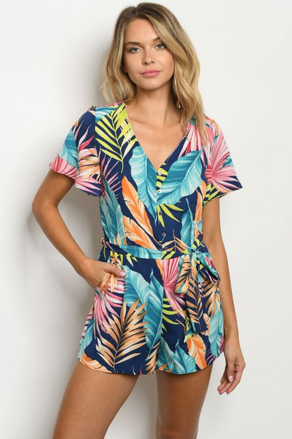 tropical print romper - orangeshine.com