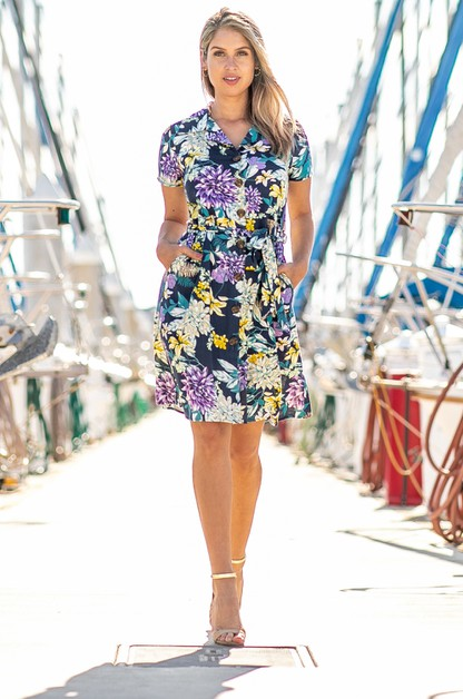 Floral Printed Dress with Button - orangeshine.com