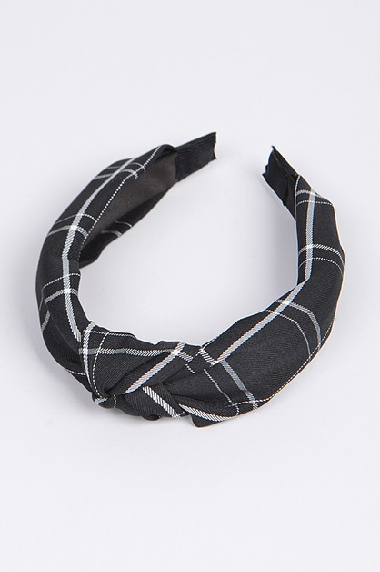 Knotted Plaid Fabric Headband - orangeshine.com