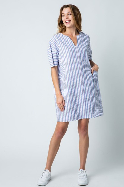 MULTI COLOR STRIPED TUNIC DRESS - orangeshine.com
