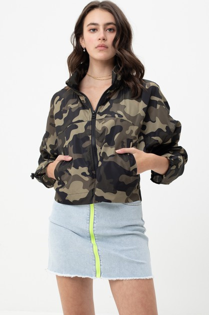 CAMO WINDBREAKER ZIP UP JACKET - orangeshine.com