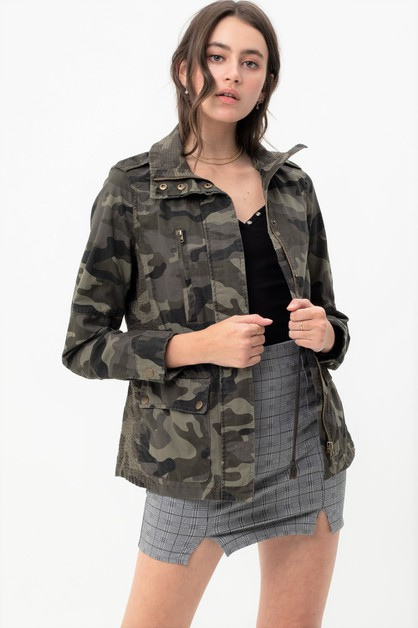 Camo Military Cotton Anorak Jacket - orangeshine.com