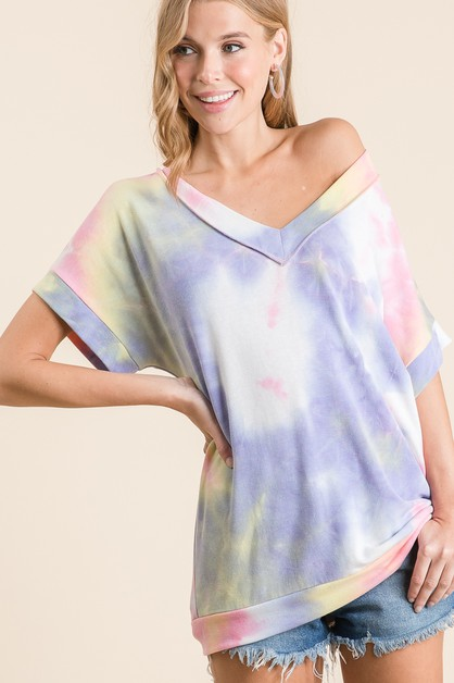 TIE DYE V NECKLINE SHORT SLEEVE TOP - orangeshine.com