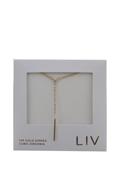 GOLD DIPPED  BAR Y  NECKLACE - orangeshine.com