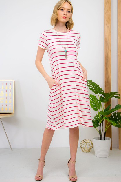 STRIPED SWING DRESS - orangeshine.com
