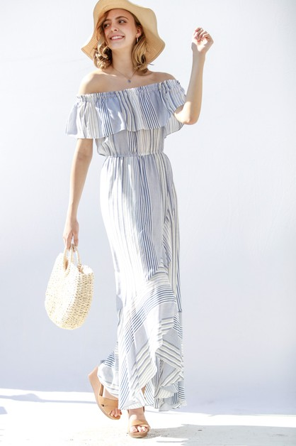 Diagonal wrap maxi length dress - orangeshine.com