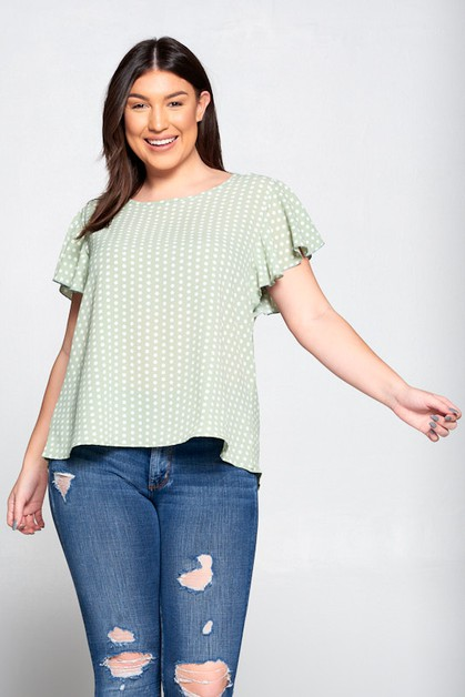 woven polka dot Top - orangeshine.com