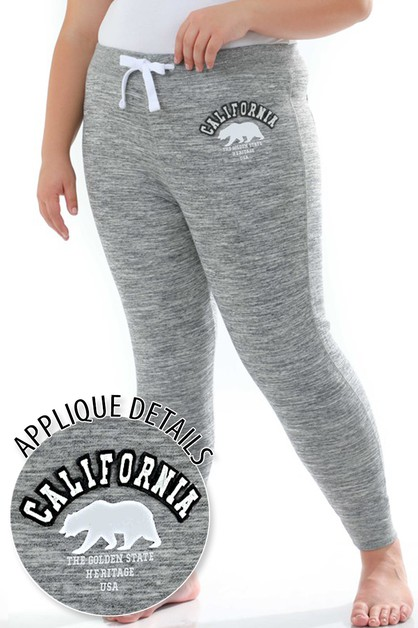 PLUS JOGGER CALIFORNIA BEAR APPLIQUE - orangeshine.com