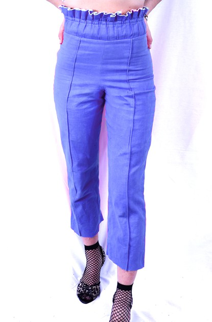 Blue Paperbag Waist Crop Denim Pant - orangeshine.com