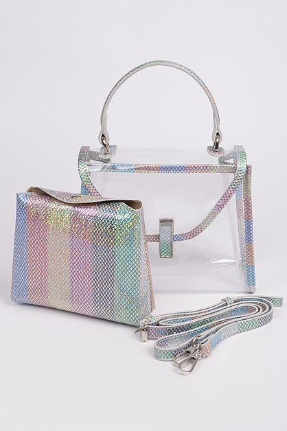 Vertical Rainbow Color Lined PVC Bag - orangeshine.com