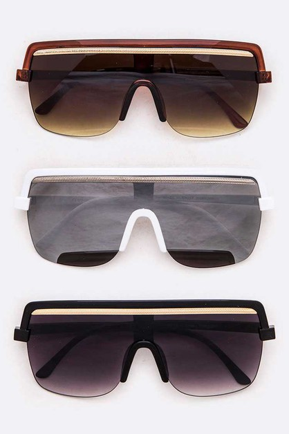 Shield Inspired Gold Bar Sunglasses  - orangeshine.com