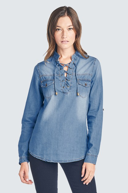 LONG SLEEVE CHAMBRAY SHIRT - orangeshine.com