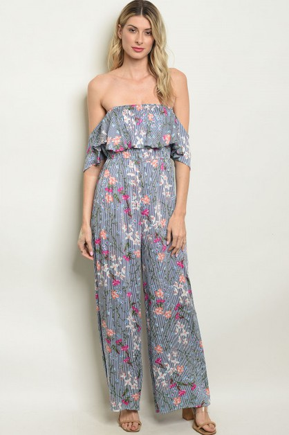 floral off shoulder jumpsuit - orangeshine.com