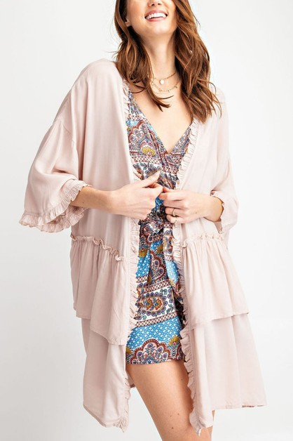RUFFLED BOTTOM CARDIGAN - orangeshine.com