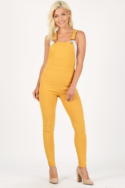 Solid Basic Fitted Overalls  - orangeshine.com