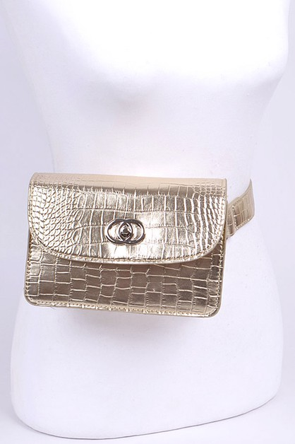 Croc Effect Embossed Belt Bag - orangeshine.com
