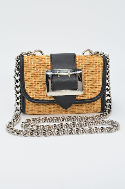 Straw And Leather With Cross Chain - orangeshine.com