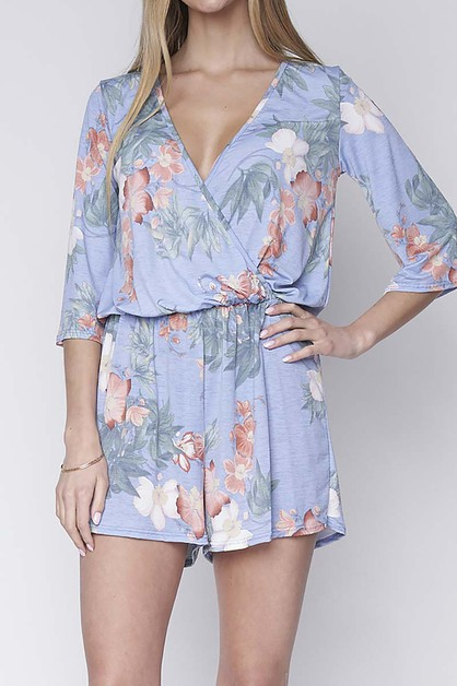 FLORAL PRINT RELAXED FIT ROMPER  - orangeshine.com