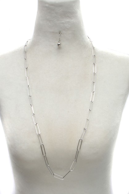 METAL LINK CHAIN LONG NECKLACE - orangeshine.com