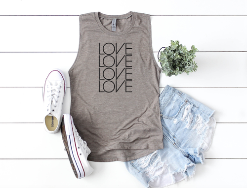 LOVE STACKED TANK TOP - orangeshine.com