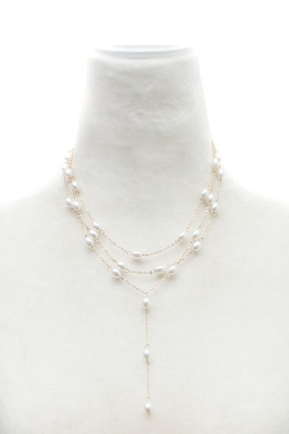 PEARL LAYERED Y NECKLACE  - orangeshine.com