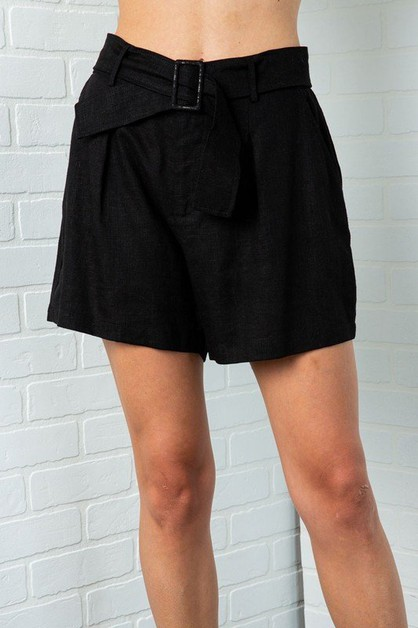 PLEATED HIGH WAIST SHORTS WITH BELT  - orangeshine.com