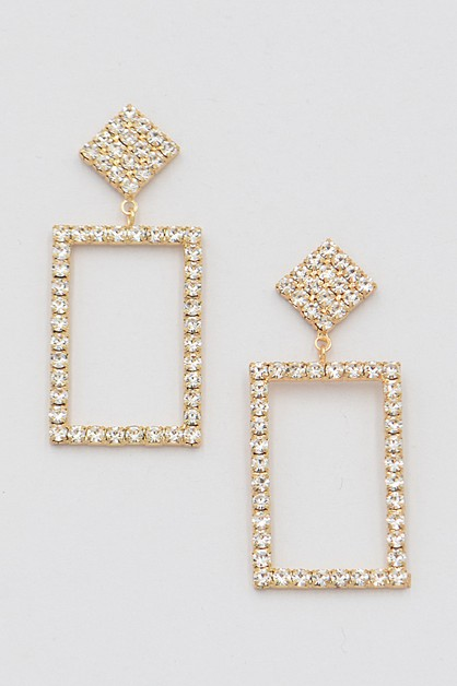Open Cut Square Drop Earrings - orangeshine.com