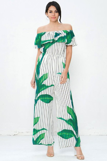 Striped floral bardot jumpsuit - orangeshine.com