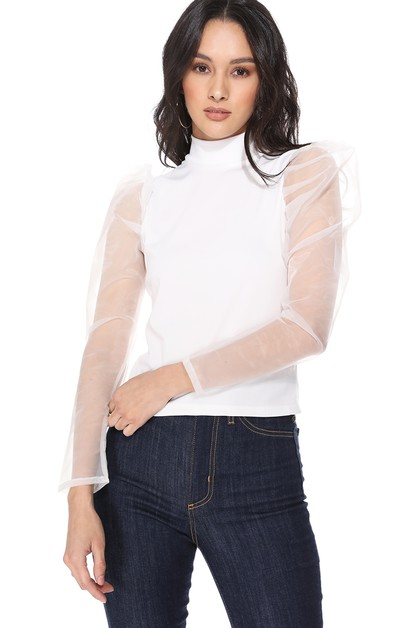 Womens Fluffy Mesh Sleeve Blouse - orangeshine.com