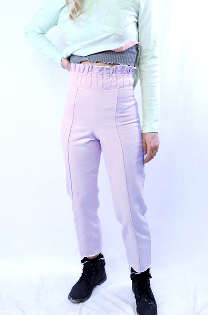 Lavendar Pleated Waist Crop Pant  - orangeshine.com