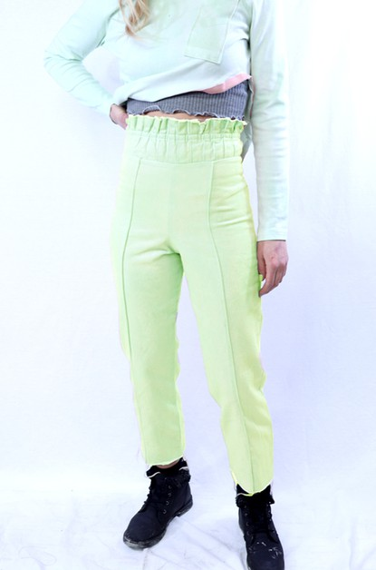 Grey Denim Pants Pleated Waistband - orangeshine.com