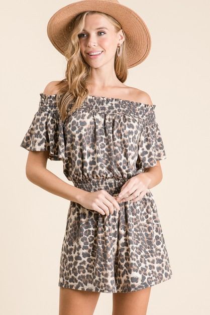 LEOPARD OFF SHOULDER ROMPER - orangeshine.com