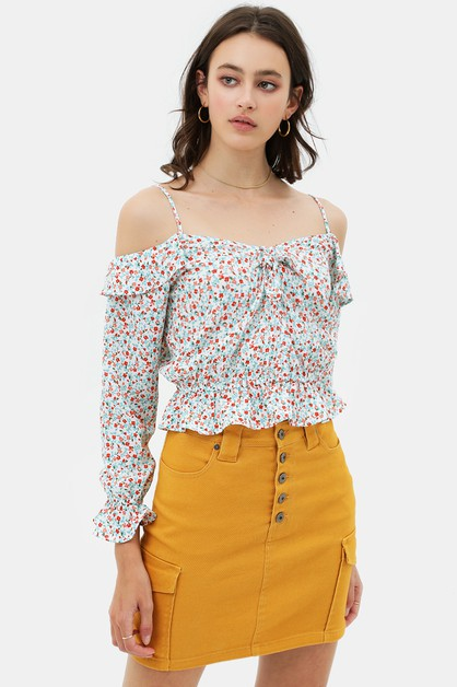 STRAPPED PRINTED BLOUSE TOP - orangeshine.com