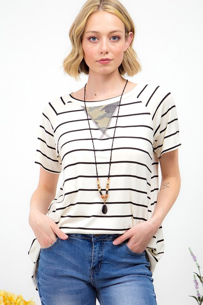 CAMO PRINT ACCENT STRIPED  TOP  - orangeshine.com