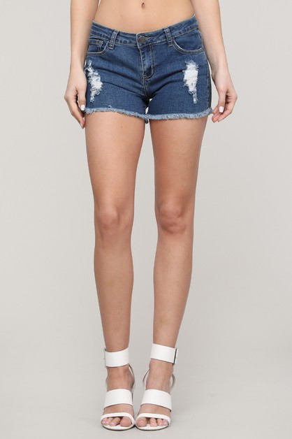 Mid Rise Ripped Short Jeans - orangeshine.com
