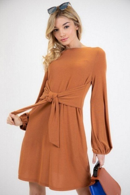 BOW KNOT TIE DETAILED SLIP ON DRESS - orangeshine.com