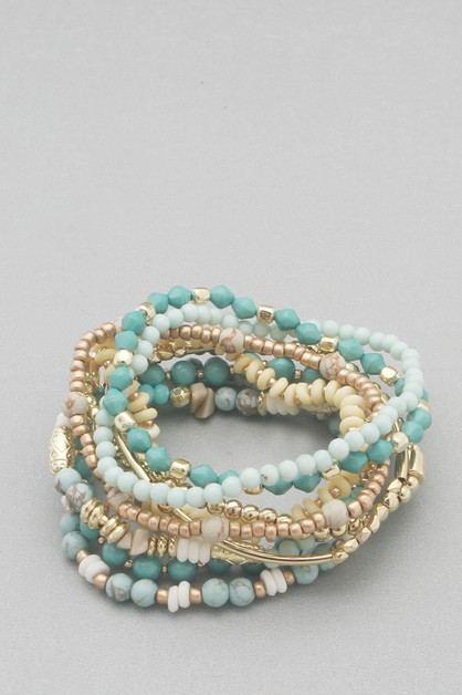 MULTI LINE  BEADS STRETCH BRACELET - orangeshine.com