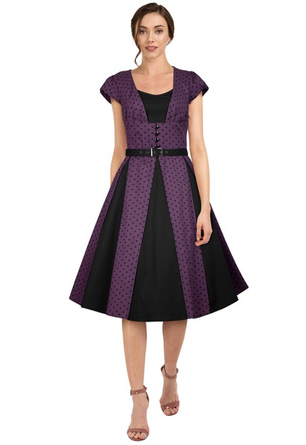 Plus Size Purple/Dots Panel Retro Dress - orangeshine.com