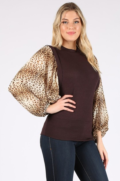 Duo-fabric fitted top with dolman sl - orangeshine.com