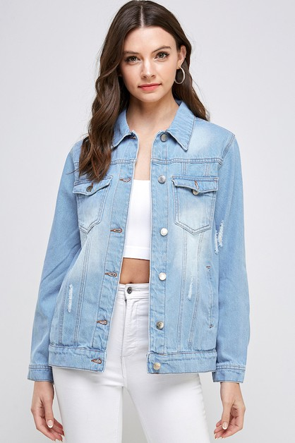 WHITE DISTRESSED DENIM JACKET  - orangeshine.com