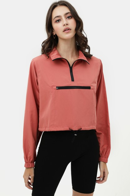 Zip Up High Neck Windbreaker - orangeshine.com