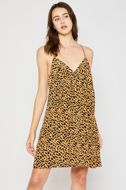 ANIMAL PRINT BABYDOLL HEMLINE DRESS - orangeshine.com