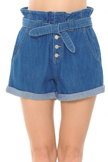 PAPER BAG DENIM SHORTS - orangeshine.com