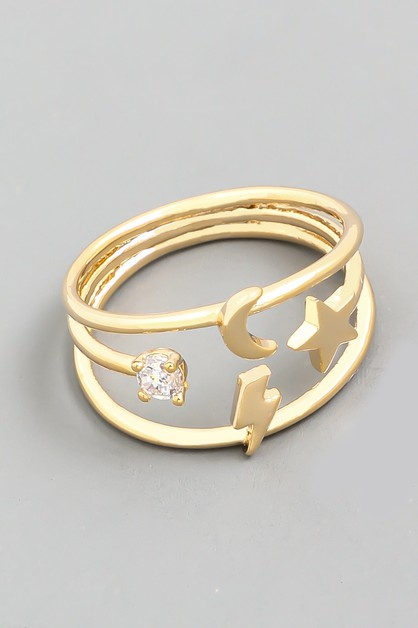 Star Moon Lightning Ring - orangeshine.com