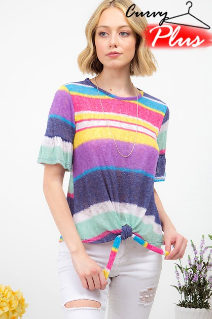 MULTI STRIPED RUFFLE SLEEVE TOP - orangeshine.com