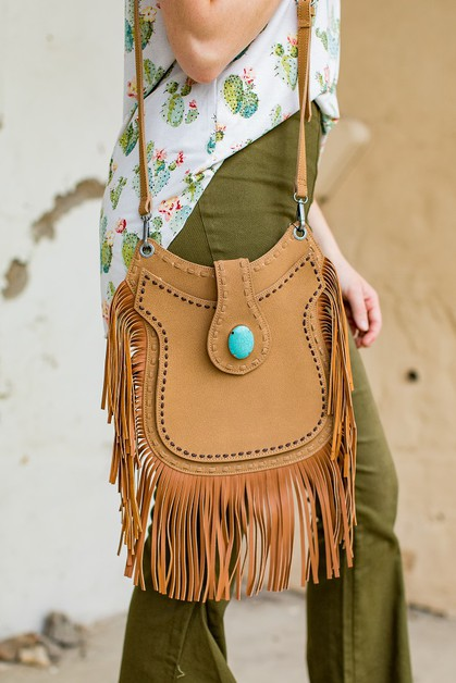 FAUX SUEDE FRINGE CROSSBODY BAG - orangeshine.com