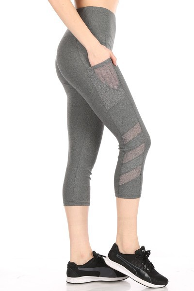 Mesh Capris Leggings Yoga Pants Crop - orangeshine.com