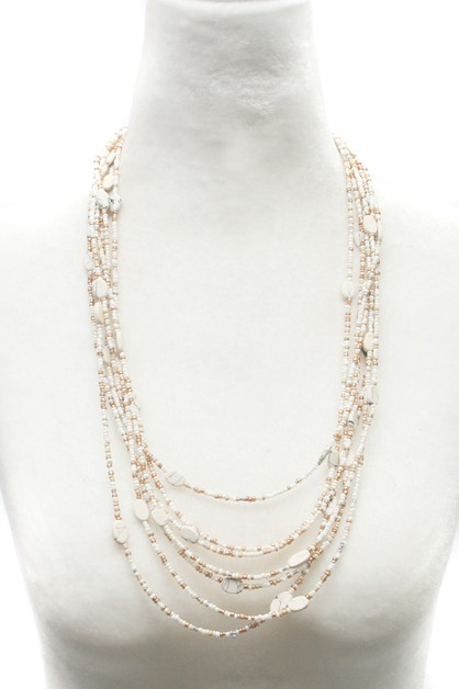 BEAD MULTI LINE  LAYERED NECKLACE - orangeshine.com