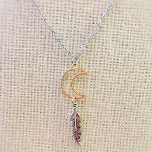 moon feather necklace - orangeshine.com