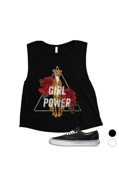 Girl Power Leopard Crop Top - orangeshine.com